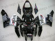 Honda CBR600RR 2003 2004 white and black fairing kits, this Honda CBR600RR 2003 2004 plastics was applied in white and black graphics, this 2003 2004 CBR600RR fairing set comes with the both color and decals shown as the photo.If you want to do custom fairings for CBR600RR 2003 2004,our talented airbrusher will custom it for you