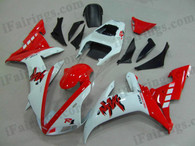 Yamaha YZF-R1 2002 2003 red and white fairing kits, this Yamaha YZF-R1 2002 2003 plastics was applied in red and whitegraphics, this 2002 2003 YZF-R1 fairing set comes with the both color and decals shown as the photo.If you want to do custom fairings for YZF-R1 2002 2003,our talented airbrusher will custom it for you.
