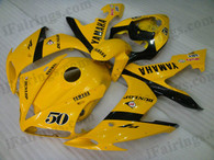 Yamaha YZF-R1 2004 2005 2006 yellow DUNLOP fairing kits, this Yamaha YZF-R1 2004 2005 2006 plastics was applied in yellow DUNLOPgraphics, this 2004 2005 2006 YZF-R1 fairing set comes with the both color and decals shown as the photo.If you want to do custom fairings for YZF-R1 2004 2005 2006,our talented airbrusher will custom it for you.