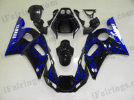 Yamaha YZF-R6 1998 to 2002 black and blue flame fairing kits, this Yamaha YZF-R6 1998 to 2002 plastics was applied in black and blue flamegraphics, this 1998 to 2002 YZF-R6 fairing set comes with the both color and decals shown as the photo.If you want to do custom fairings for YZF-R6 1998 to 2002,our talented airbrusher will custom it for you.