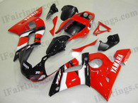 Yamaha YZF-R6 1998 to 2002 red,white and black fairing kits, this Yamaha YZF-R6 1998 to 2002 plastics was applied in red,white and blackgraphics, this 1998 to 2002 YZF-R6 fairing set comes with the both color and decals shown as the photo.If you want to do custom fairings for YZF-R6 1998 to 2002,our talented airbrusher will custom it for you.