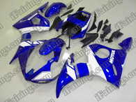 Yamaha YZF-R6 2003 2004 2005 blue and white fairing kits, this Yamaha YZF-R6 2003 2004 2005 plastics was applied in blue and whitegraphics, this 2003 2004 2005 YZF-R6 fairing set comes with the both color and decals shown as the photo.If you want to do custom fairings for YZF-R6 2003 2004 2005,our talented airbrusher will custom it for you.