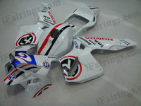 Honda CBR600RR 2003 2004 NASTRO AZZURRO fairing kits, this Honda CBR600RR 2003 2004 plastics was applied in NASTRO AZZURRO graphics, this 2003 2004 CBR600RR fairing set comes with the both color and decals shown as the photo.If you want to do custom fairings for CBR600RR 2003 2004,our talented airbrusher will custom it for you