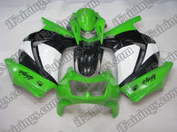 Kawasaki Ninja250 2006 to 2009 green,white and black fairing kits, this Kawasaki Ninja250 2006 to 2009 plastics was applied in green,white and blackgraphics, this 2006 to 2009 Ninja250 fairing set comes with the both color and decals shown as the photo.If you want to do custom fairings for Ninja250 2006 to 2009,our talented airbrusher will custom it for you.
