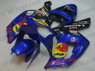 Kawasaki ZX6R 636 2003 2004 red bull replica fairing kits, this Kawasaki ZX6R 636 2003 2004 plastics was applied in red bull replicagraphics, this 2003 2004 ZX6R 636 fairing set comes with the both color and decals shown as the photo.If you want to do custom fairings for ZX6R 636 2003 2004,our talented airbrusher will custom it for you.