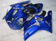 Kawasaki ZX6R 636 2003 2004 blue fairing kits, this Kawasaki ZX6R 636 2003 2004 plastics was applied in bluegraphics, this 2003 2004 ZX6R 636 fairing set comes with the both color and decals shown as the photo.If you want to do custom fairings for ZX6R 636 2003 2004,our talented airbrusher will custom it for you.