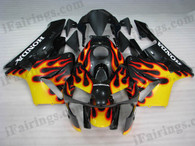 Honda CBR600RR 2003 2004 black and yellow flame fairing kits, this Honda CBR600RR 2003 2004 plastics was applied in black and yellow flame graphics, this 2003 2004 CBR600RR fairing set comes with the both color and decals shown as the photo.If you want to do custom fairings for CBR600RR 2003 2004,our talented airbrusher will custom it for you.