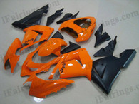 Kawasaki ZX10R 2004 2005 orange and black fairing kits, this Kawasaki ZX10R 2004 2005 plastics was applied in orange and blackgraphics, this 2004 2005 ZX10R fairing set comes with the both color and decals shown as the photo.If you want to do custom fairings for ZX10R 2004 2005,our talented airbrusher will custom it for you.