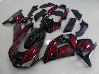 Kawasaki ZX14R 2006 2007 2008 2009 red flame fairing kits, this Kawasaki ZX14R 2006 2007 2008 2009 plastics was applied in red flame graphics, this 2006 2007 2008 2009 ZX14R fairing set comes with the both color and decals shown as the photo.If you want to do custom fairings for ZX14R 2006 2007 2008 2009,our talented airbrusher will custom it for you.