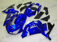 Kawasaki ZX14R 2006 2007 2008 2009 blue and black flame fairing kits, this Kawasaki ZX14R 2006 2007 2008 2009 plastics was applied in blue and black flame graphics, this 2006 2007 2008 2009 ZX14R fairing set comes with the both color and decals shown as the photo.If you want to do custom fairings for ZX14R 2006 2007 2008 2009,our talented airbrusher will custom it for you.