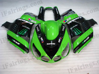 Kawasaki ZX14R 2006 2007 2008 2009 glossy black fairing kits, this Kawasaki ZX14R 2006 2007 2008 2009 plastics was applied in glossy black graphics, this 2006 2007 2008 2009 ZX14R fairing set comes with the both color and decals shown as the photo.If you want to do custom fairings for ZX14R 2006 2007 2008 2009,our talented airbrusher will custom it for you.