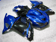 Kawasaki ZX14R 2006 2007 2008 2009 blue and black fairing kits, this Kawasaki ZX14R 2006 2007 2008 2009 plastics was applied in blue and blackgraphics, this 2006 2007 2008 2009 ZX14R fairing set comes with the both color and decals shown as the photo.If you want to do custom fairings for ZX14R 2006 2007 2008 2009,our talented airbrusher will custom it for you.