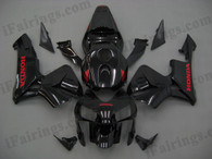 Honda CBR600RR 2003 2004 glossy black fairing kits, this Honda CBR600RR 2003 2004 plastics was applied in glossy black graphics, this 2003 2004 CBR600RR fairing set comes with the both color and decals shown as the photo.If you want to do custom fairings for CBR600RR 2003 2004,our talented airbrusher will custom it for you.