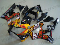 Honda CBR900RR 929 2000 2001 Rossi Repsol fairing kits, this Honda CBR900RR 929 2000 2001 plastics was applied in Rossi Repsol graphics, this 2000 2001 CBR900RR 929 fairing set comes with the both color and decals shown as the photo.If you want to do custom fairings for CBR900RR 929 2000 2001,our talented airbrusher will custom it for you