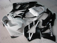 Honda CBR900RR 929 2000 2001 white and black fairing kits, this Honda CBR900RR 929 2000 2001 plastics was applied in white and blackgraphics, this 2000 2001 CBR900RR 929 fairing set comes with the both color and decals shown as the photo.If you want to do custom fairings for CBR900RR 929 2000 2001,our talented airbrusher will custom it for you