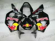 Honda CBR900RR 954 2002 2003 red bull fairing kits, this Honda CBR900RR 954 2002 2003 plastics was applied in red bull graphics, this 2002 2003 CBR900RR 954 fairing set comes with the both color and decals shown as the photo.If you want to do custom fairings for CBR900RR 954 2002 2003,our talented airbrusher will custom it for you
