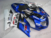 Suzuki GSXR600/750 2001 2002 2003 blue and white fairing kits, this Suzuki GSXR600/750 2001 2002 2003 plastics was applied in blue and white graphics, this 2001 2002 2003 GSXR600/750 fairing set comes with the both color and decals shown as the photo.If you want to do custom fairings for GSXR600/750 2001 2002 2003,our talented airbrusher will custom it for you