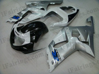Suzuki GSXR600/750 2001 2002 2003 silver and black fairing kits, this Suzuki GSXR600/750 2001 2002 2003 plastics was applied in silver and black graphics, this 2001 2002 2003 GSXR600/750 fairing set comes with the both color and decals shown as the photo.If you want to do custom fairings for GSXR600/750 2001 2002 2003,our talented airbrusher will custom it for you.