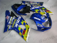 Suzuki GSXR1000 2000 2001 2002 Telefonica Movistar fairing kits, this Suzuki GSXR1000 2000 2001 2002 plastics was applied in Telefonica Movistar graphics, this 2000 2001 2002 GSXR1000 fairing set comes with the both color and decals shown as the photo.If you want to do custom fairings for GSXR1000 2000 2001 2002,our talented airbrusher will custom it for you.