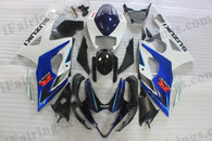Suzuki GSXR1000 2005 2006 blue and white fairing kits, this Suzuki GSXR1000 2005 2006 plastics was applied in blue and white graphics, this 2005 2006 GSXR1000 fairing set comes with the both color and decals shown as the photo.If you want to do custom fairings for GSXR1000 2005 2006,our talented airbrusher will custom it for you.