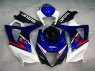 Suzuki GSXR1000 2007 2008 blue/white/black fairing kits, this Suzuki GSXR1000 2007 2008 plastics was applied in blue/white/black graphics, this 2007 2008 GSXR1000 fairing set comes with the both color and decals shown as the photo.If you want to do custom fairings for GSXR1000 2007 2008,our talented airbrusher will custom it for you.