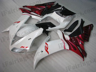Yamaha YZF-R1 2002 2003 white and red fairing kits, this Yamaha YZF-R1 2002 2003 plastics was applied in white and red graphics, this 2002 2003 YZF-R1 fairing set comes with the both color and decals shown as the photo.If you want to do custom fairings for YZF-R1 2002 2003,our talented airbrusher will custom it for you.