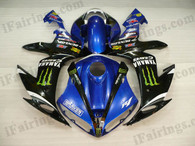 Yamaha YZF-R1 2004 2005 2006 monster fairing kits, this Yamaha YZF-R1 2004 2005 2006 plastics was applied in monstergraphics, this 2004 2005 2006 YZF-R1 fairing set comes with the both color and decals shown as the photo.If you want to do custom fairings for YZF-R1 2004 2005 2006,our talented airbrusher will custom it for you.