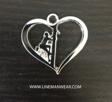 Wear your lineman on your heart necklace charm!