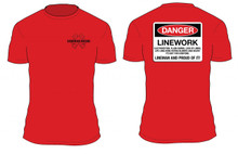 "Lineman t-shirts ""Danger"" Lineman and Proud of It. Unique Tshirt designs for the power lineman."