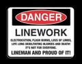 """Lineman T-Shirt """"Danger"""" American Pride, American Made."""