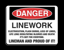 "Lineman T-Shirt ""Danger"" American Pride, American Made."