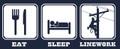 Close-up of Eat Sleep Linework!