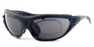 Harley-Davidson HDX822 Safety Glasses Sport Wrap-Around Design with Strap & Foam Inserts (Black Frame & Grey Lens)