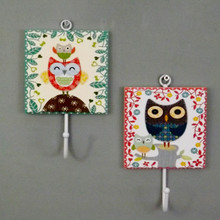 Pair of Owl Coat Hooks with decorative Boarders