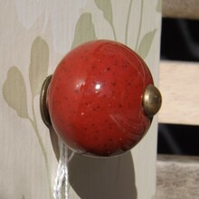 Deep Red Ceramic Drawer Knob