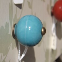 Aqua Blue Ceramic Drawer Knob