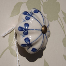 Blue & Antique White Ceramic Drawer Knob
