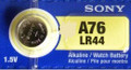 Sony LR44 - A76 Alkaline Button Battery 1.5V
