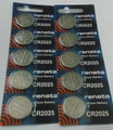 Renata CR2025 3V Lithium Coin Battery - 10 Pack + FREE SHIPPING