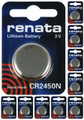 Renata CR2450N 3V Lithium Coin Battery 10 Pack + FREE SHIPPING!
