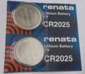 Renata CR2025 3V Lithium Coin Battery - 2 Pack + FREE SHIPPING