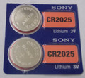 Sony CR2025 3V Lithium Coin Battery - 2 Pack - FREE SHIPPING!