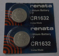 Renata CR1632 3V Lithium Coin Battery - 2 Pack +  FREE SHIPPING