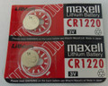 Maxell CR1220 3V Lithium Coin Battery  2 Pack -  FREE SHIPPING!