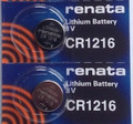Renata CR1216 3V Lithium Coin Battery - 2 Pack + FREE SHIPPING!