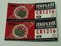 Maxell CR1216 3 Volt Lithium Coin Battery - 2 Pack + FREE SHIPPING