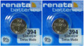 Renata 394/SR936 Silver Oxide Button Battery 1.55V - 2 Pack + FREE SHIPPING!