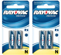 Rayovac E90 N Size 1.5V LR1 - 4 Pack on Retail Cards + FREE SHIPPING!