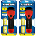 Rayovac Value Bright 5 LED 2D Rubber Flashlight with 2 D Batteries - 2 Pack + FREE SHIPPING!