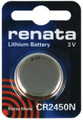 Renata CR2450N 3V Lithium Coin Battery 1 Pack + FREE SHIPPING!